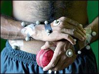 Shoaib Malik during biomechanical testing at the University of Western Australia