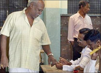 A man voting in Sri Lanka