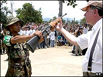 Colombian paramilitaries in disarmament ceremony