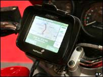A satellite navigation system on a motorbike