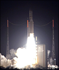 Ariane 5-ECA launches from Kourou (Arianespace)