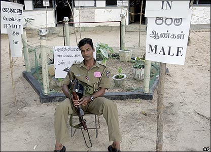 A policeman in a deserted polling booth in Batticaloa district in eastern Sri Lanka