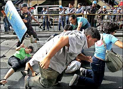Riot police attack protesters in the Filipino capital, Manila
