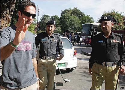 Michael Vaughan with Pakistani police