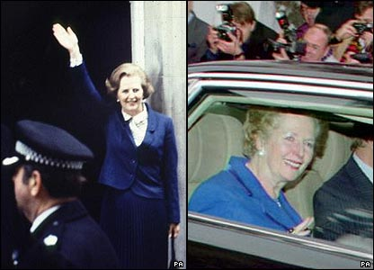 Margaret Thatcher entering Downing Street in 1979 and on the day of her resignation in 1990