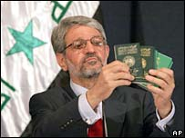 Iraqi Interior Minister Bayan Jabr with foreign passports