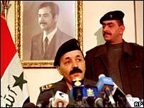 Ex-Iraqi Vice-President Taha Yasin Ramadan gives a press conference