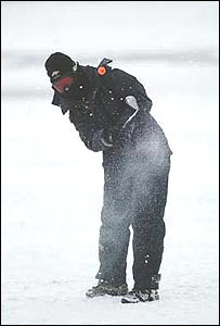 A golfer tees off on Svalbard