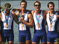 James Cracknell and the gold medal winning Olympic rowing team
