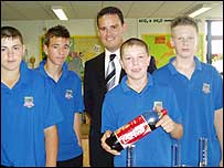 Mark Sexton, deputy head teacher at St Ilan School in Caerphilly with some of his pupils
