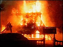 Norwegian church on fire