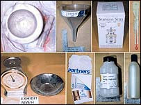 Metropolitan Police photos of chemicals and equipment for the production of poisons and explosives recovered from the London flat of Kamel Bourgass
