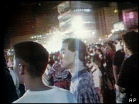 Flash from a large explosion can be seen in this image from video shot in the Centennial Olympic Park, early morning July 27,1996 in Atlanta