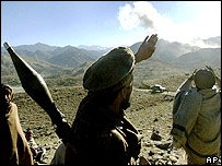 Afghan fighters in the Tora Bora mountains