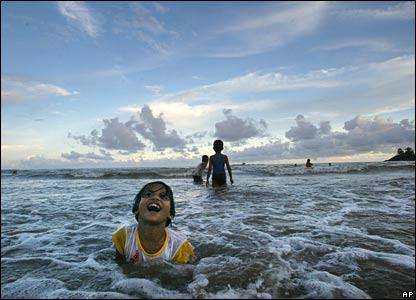 Children swim off India's Andaman and Nicobar islands
