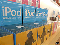 iPods piled high in an Apple store in California