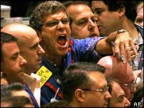 Oil traders at the New York Mercantile Exchange