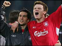 Luis Garcia and John Arne Riise celebrate Liverpool's victory