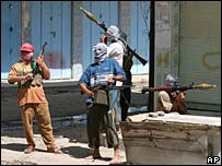 Masked gunmen on the streets of Ramadi