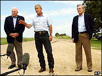Dick Cheney, George W Bush and Donald Rumsfeld