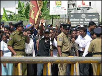 Rajapakse supporters at the time of his election win