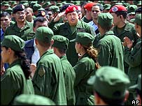Hugo Chavez inspects new reserve force