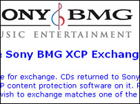 Screengrab of Sony BMG exchange page, Sony BMG
