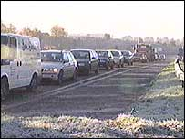 Cars queuing at a motorway junction