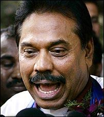 Victorious poll winner, Mahinde Rajapakse