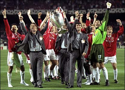 The United team celebrate their European Cup win over Bayern Munich in 1999