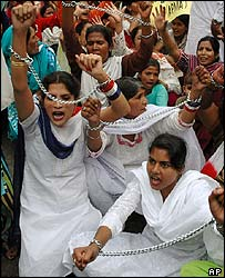 Women protest on International Women's Day