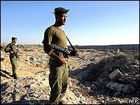 Palestinian security men near Gaza border
