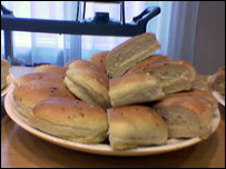 A plate of bacon rolls