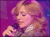 Madonna during her Children In Need performance