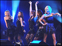 Girls Aloud performing at RAF Brize Norton