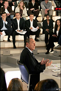 French President Jacques Chirac at the TV debate on the EU constitution