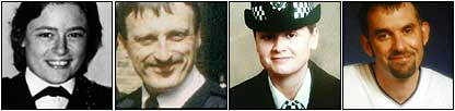 Yvonne Fletcher - shot; Keith Blakelock - machete attack; Nina Mackay - stabbed; Ian Broadhurst - shot