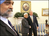 Natwar Singh (left) with George W Bush