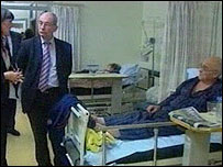 Brian Gibbons on a hospital ward