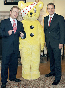Jon Culshaw, Pudsey bear and Tony Blair