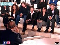 French President Jacques Chirac is questioned by young people