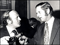 John Timpson at a 1974 farewell party for Today presenter Robert Robinson (l)