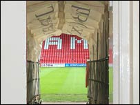Players tunnel at Wrexham Football Club