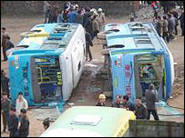 Overturned buses in Huaxi, Dongyang