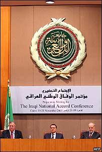 Jalal Talabani, presidente de Irak, Hosni Mubarak, presidente de Egipto y primer ministro iraquí, Ibrahim Jaafari