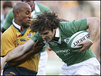 Gordon D'Arcy is stopped in his tracks by George Gregan