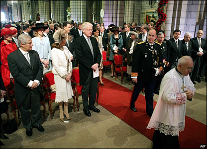 Prince Albert of Monaco arrives at the cathedral for Mass.