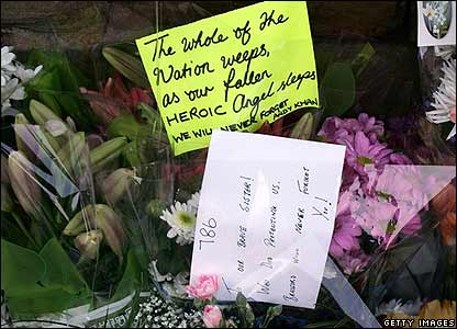 Flowers left near scene