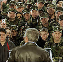 Bush addresses troops at Osan