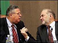Iraqi President Jalal Talabani and Prime Minister Ibrahim al-Jaafari at the meeting in Cairo